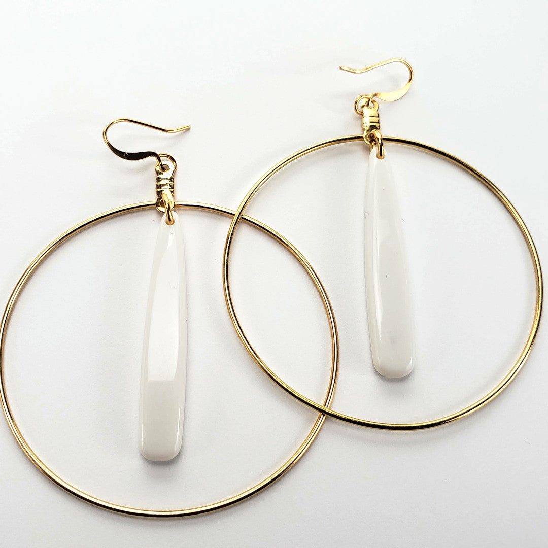 Vintage White Hoop Earrings
