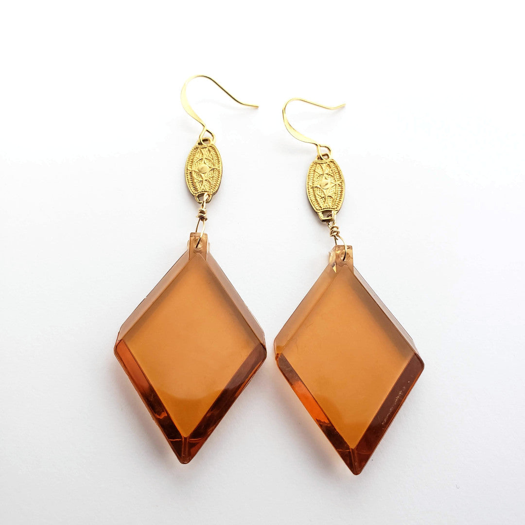 Vintage Honey Lucite Drop Earrings