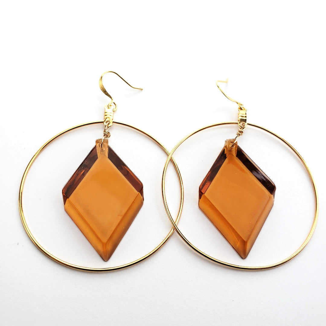 Vintage Honey Lucite Hoop Earrings