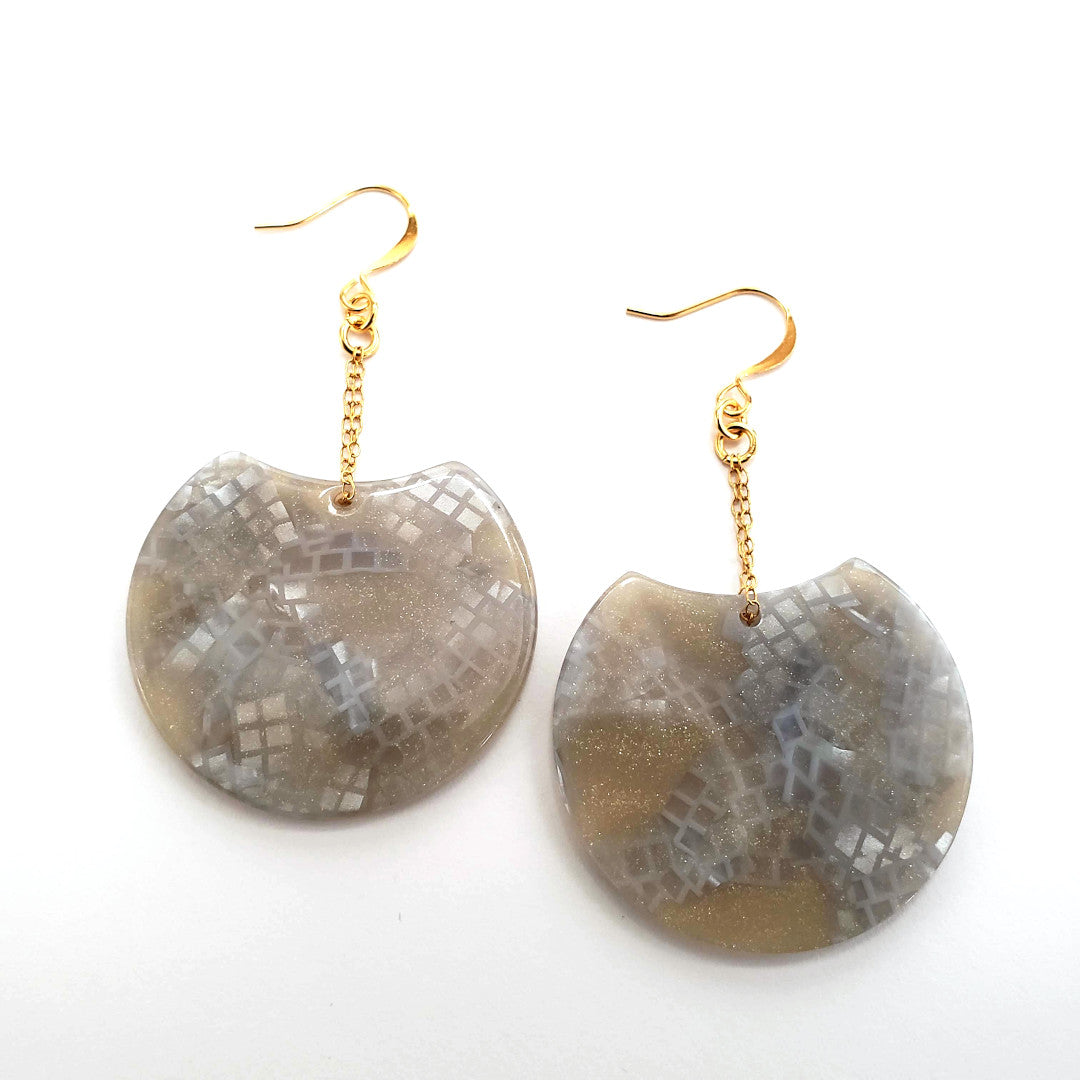 Italian Snakeskin Resin Disc Earrings