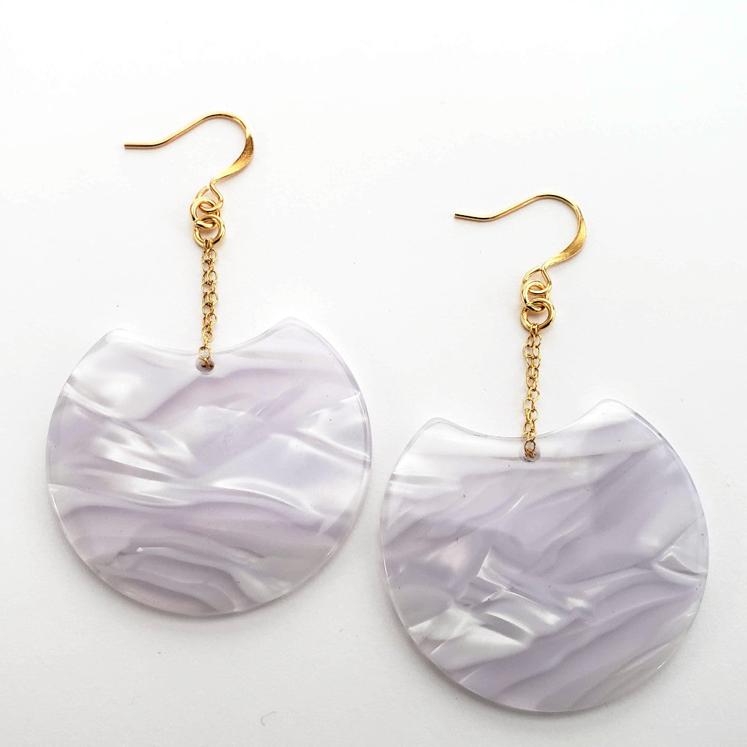 Italian Pearl Resin Disc Earrings