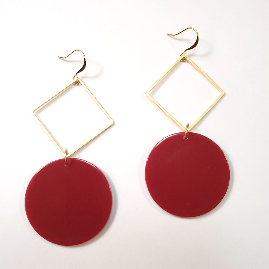 Vintage Lipstick Lucite Mod Disc Earrings