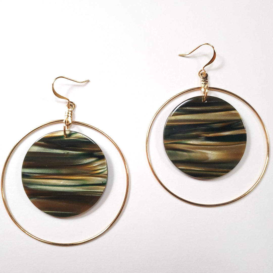Italian Sage Resin Disc Hoop Earrings