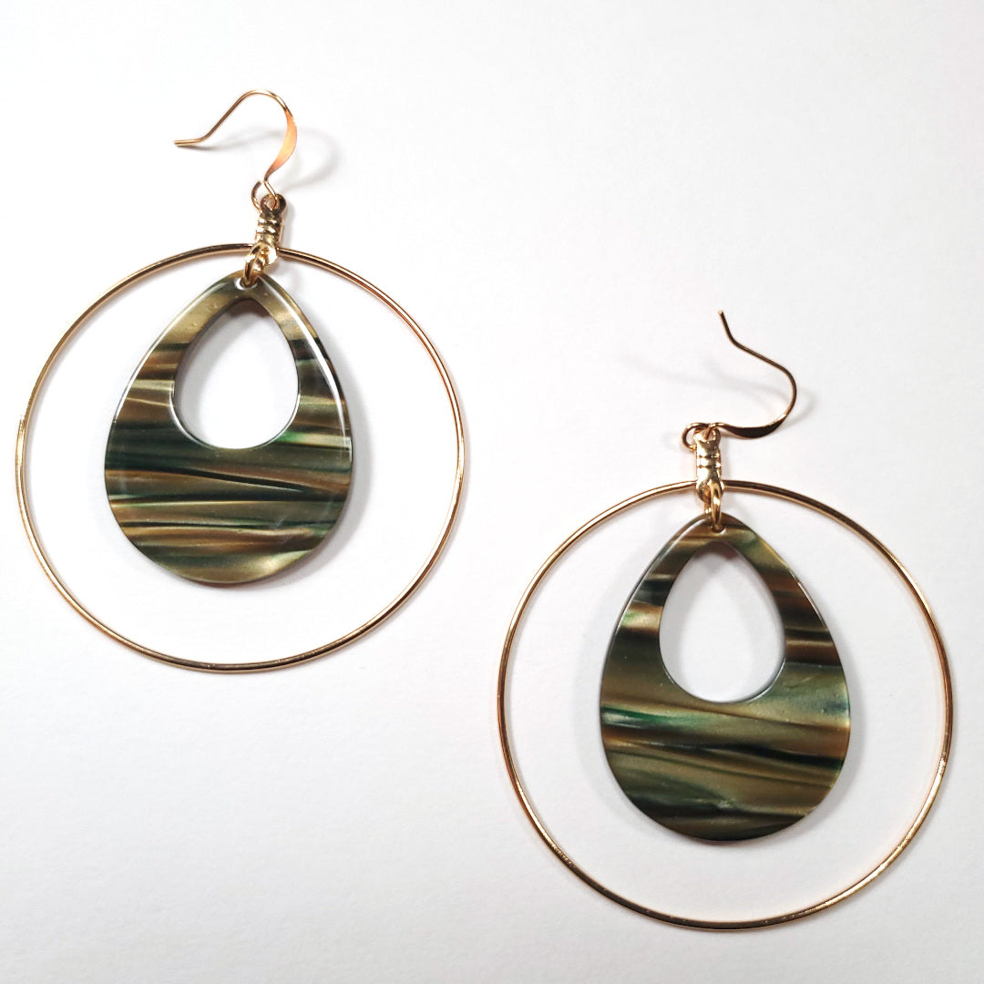 Italian Sage Resin Teardrop Hoop Earrings