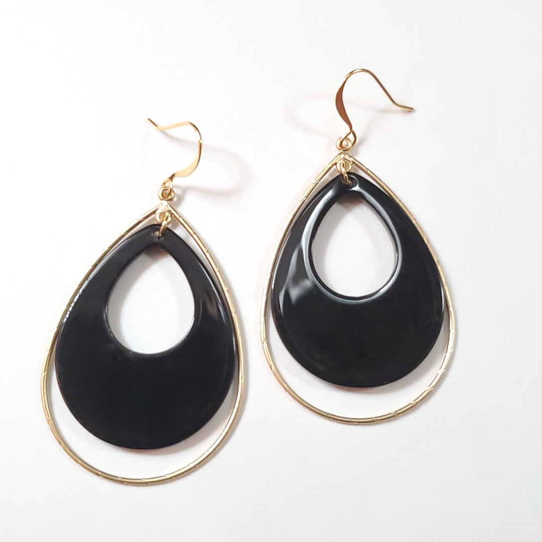 Vintage Jet Lucite Teardrop Hoop Earrings