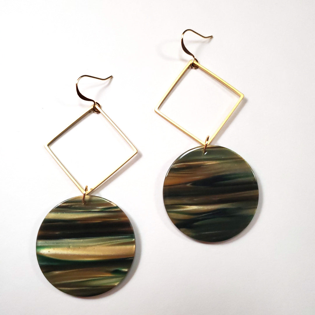 Italian Sage Resin Disc Earrings