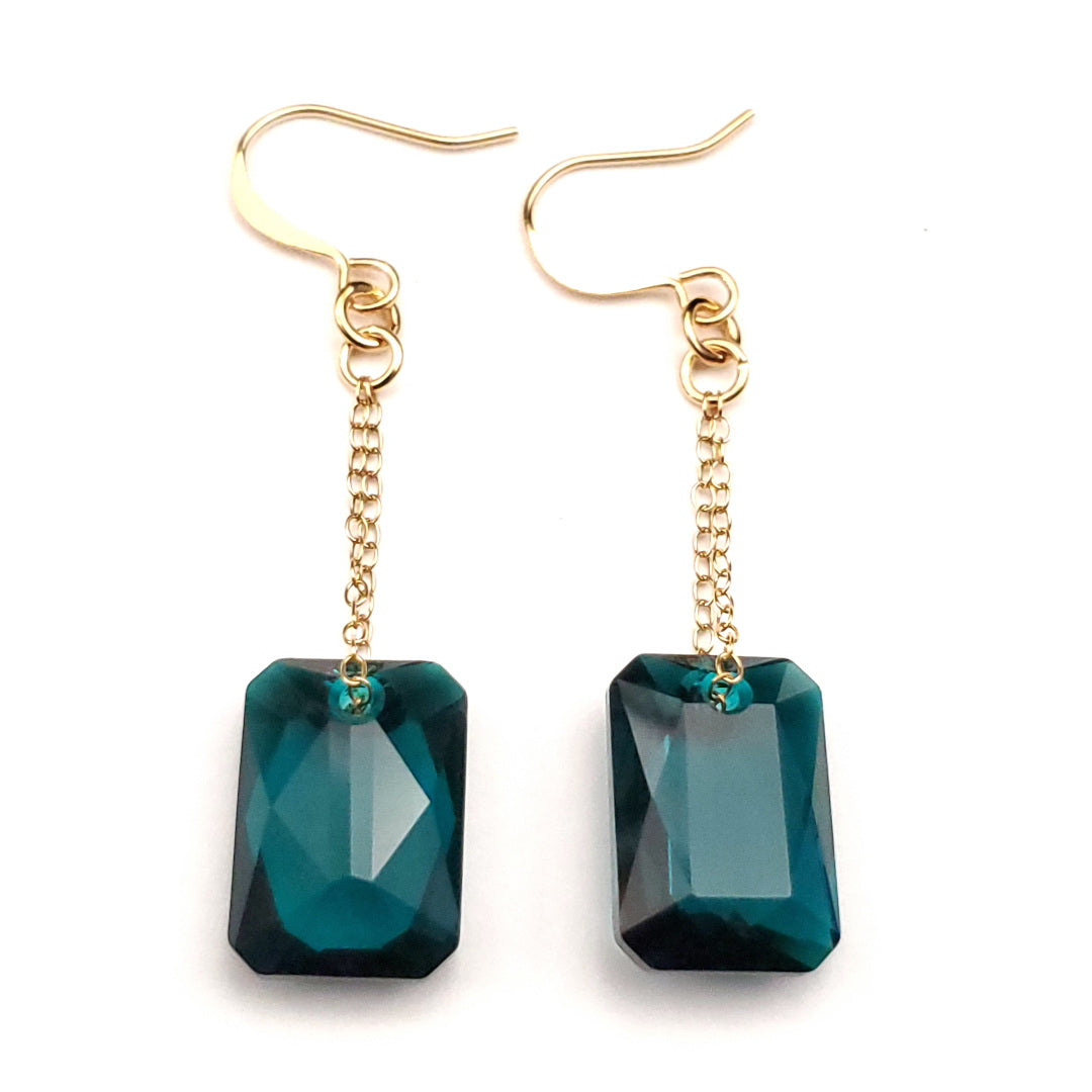 Swarovski Green Emerald Cut Crystal Earrings
