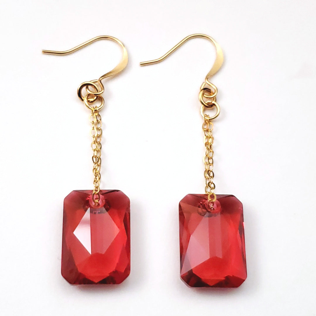 Swarovski Scarlet Emerald Cut Crystal Earrings