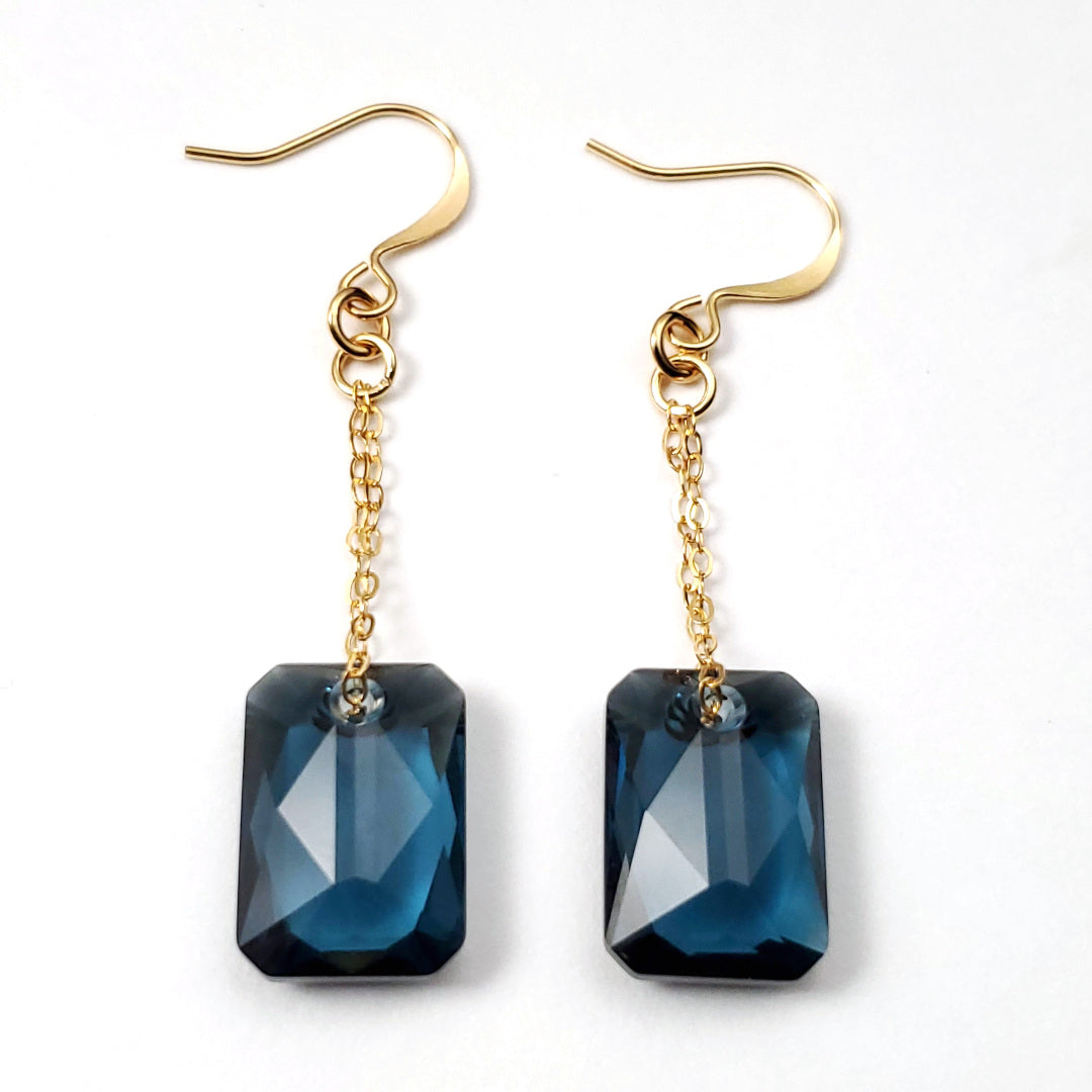 Swarovski Montana Blue Emerald Cut Crystal Earrings