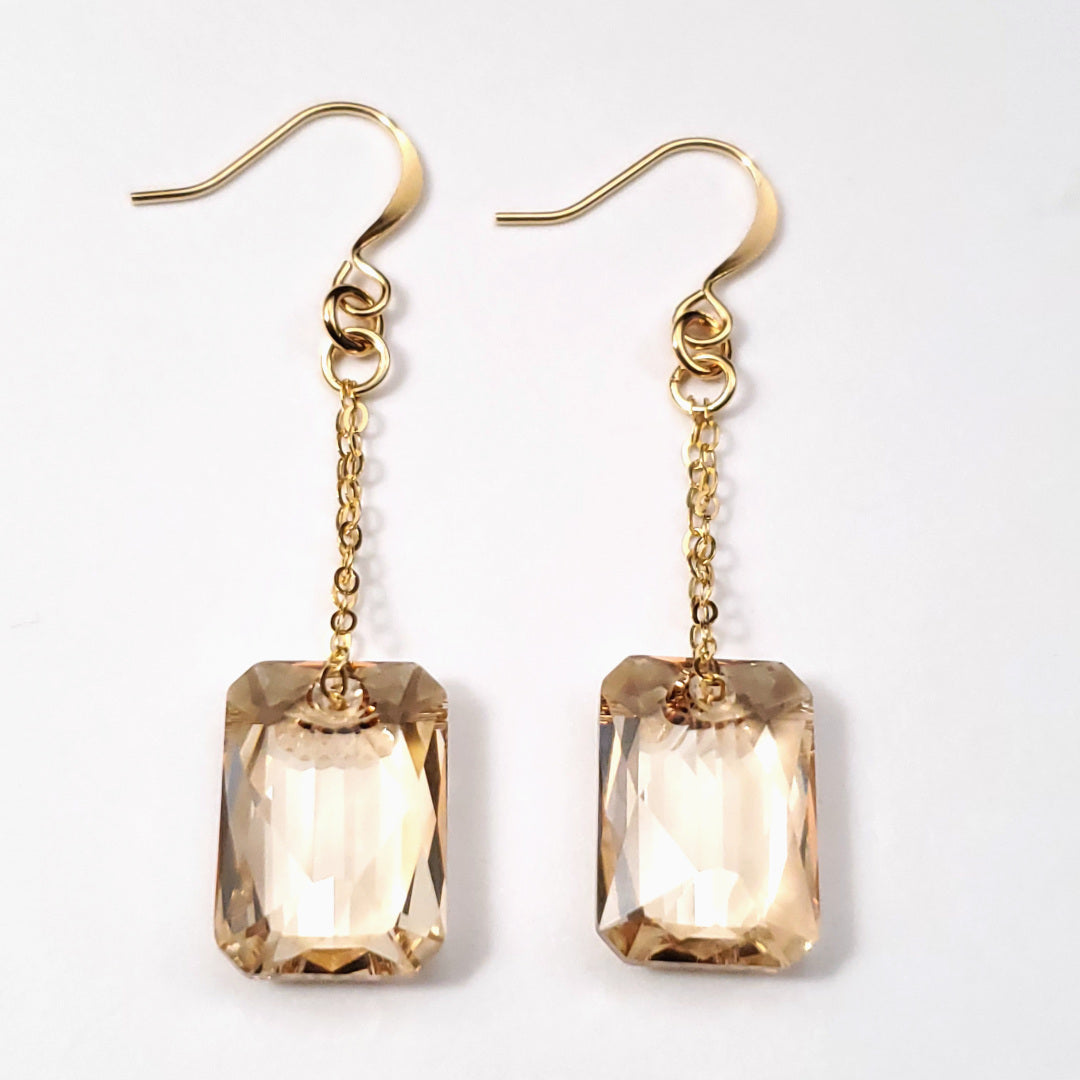 Swarovski Golden Shadow Emerald Cut Crystal Earrings