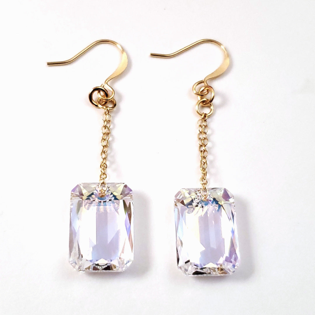 Swarovski AB Emerald Cut Crystal Earrings