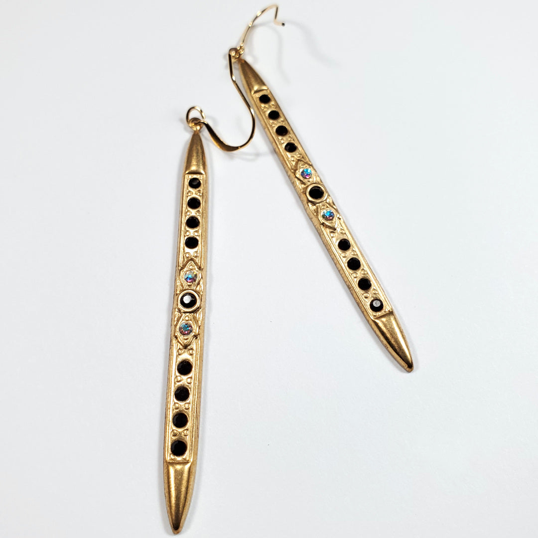 Swarovski Art Deco Bar Drop Earrings