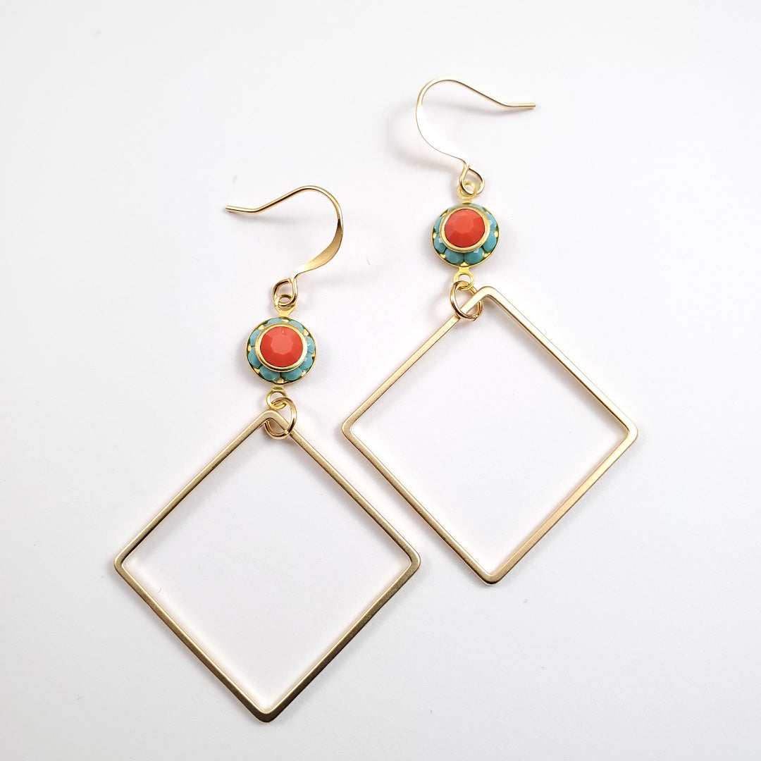 Vintage Swarovski Geo Drop Earrings