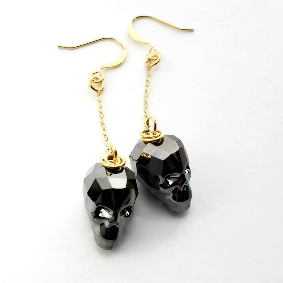 Silver Night Skull Earrings