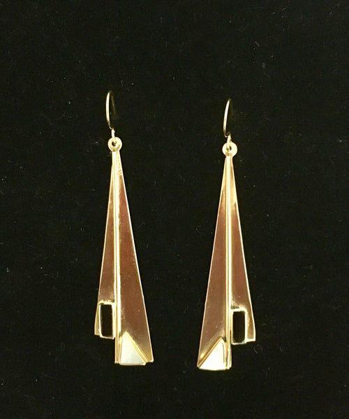 Vintage Bronze Art Deco style earrings