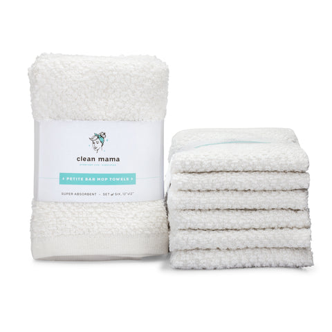 Petite Bar Mop Towels – Set of 6, White