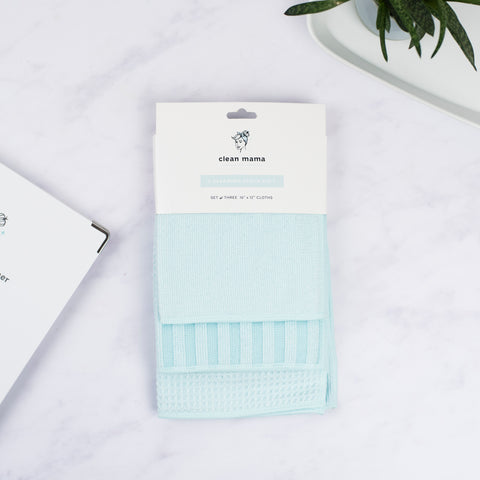 Cleaning Cloth Kit - set of 3 - Aqua