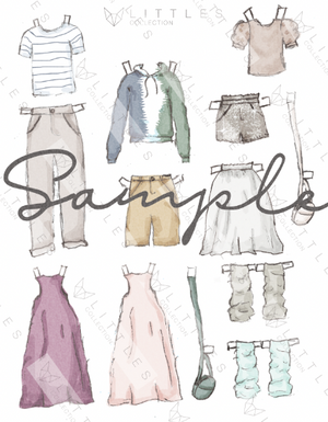 printable paper doll deluxe clothing pack