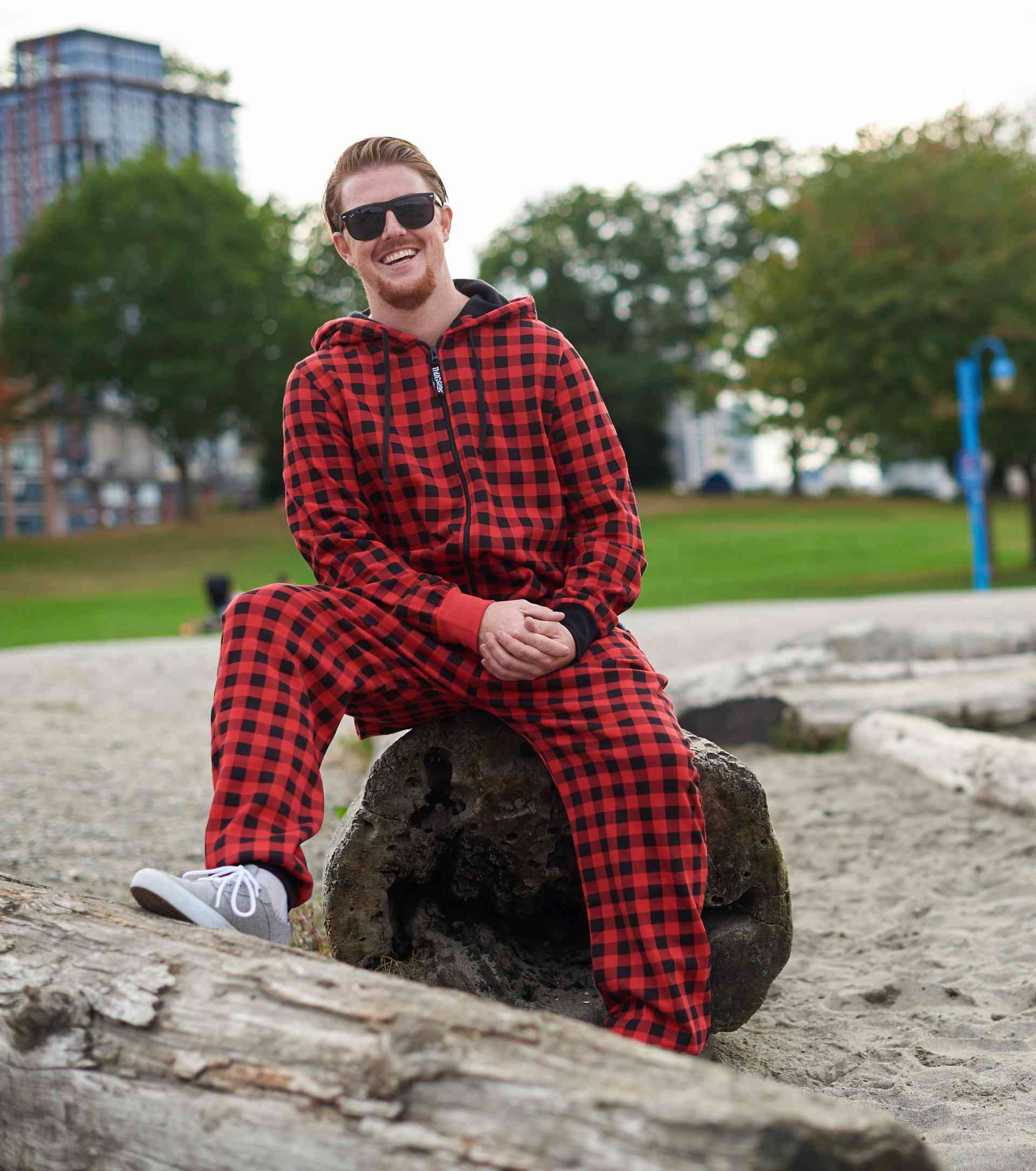 red plaid butt flap onesie thuggies