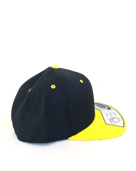 Black & Yellow Flat Brim Hat