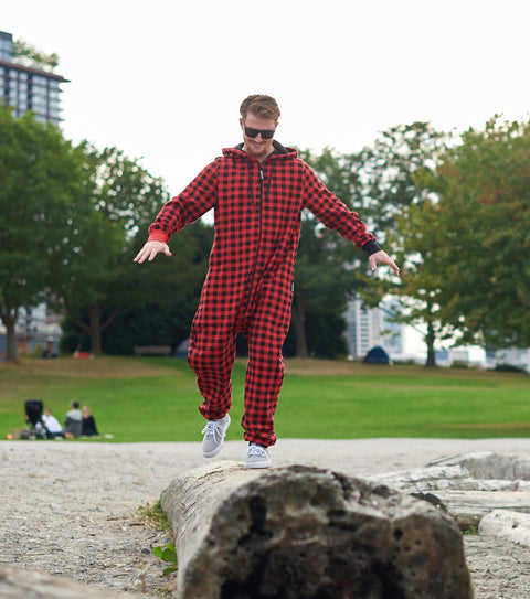 Mens red plaid pajamas one piece with bum flap