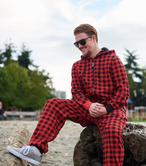 Mens red plaid butt flap onesie