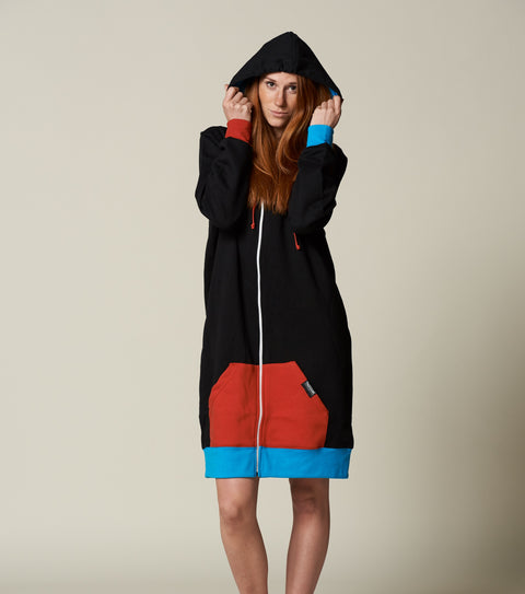 Womens black and red long zip up hoodie pajamas