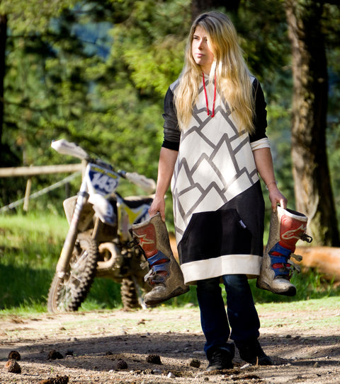 Megan Griffiths Enduro Dirt Bike rider in her mountaineer womens long hoodie