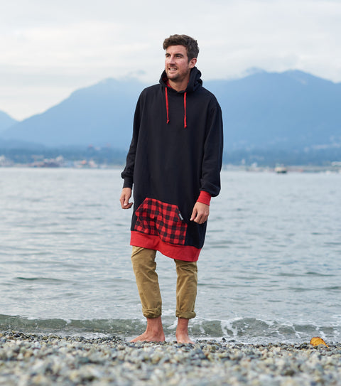 Red plaid thuggies long hoodie in Vancouver at the beach.