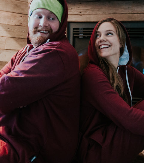 The perfect comfortable couples clothing. Thuggies onesies in burgundy.