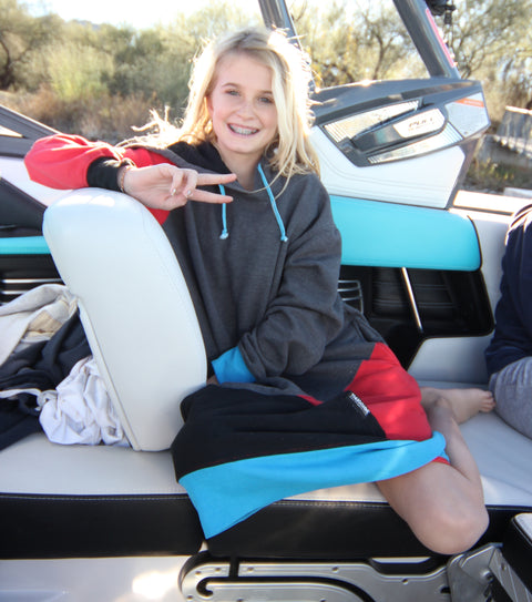 Kai wake surfer she shreds co thuggies long hoodie for the boat wakeboard