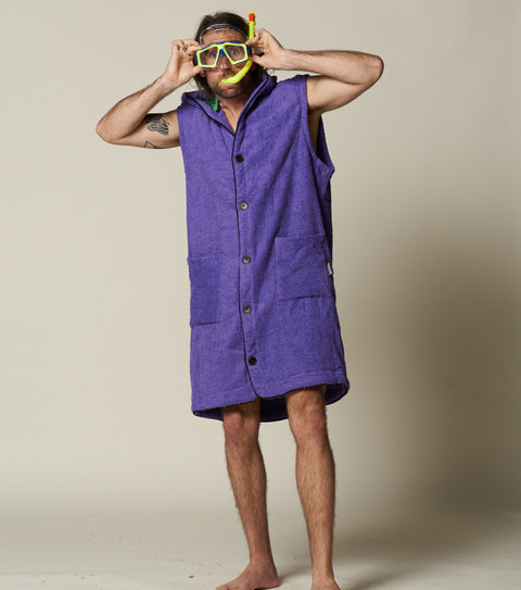 Mens purple surf towel hooded poncho