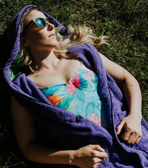 Cassie hawrysh wearing the purple grass surf poncho towel thuggie cotton hooded womens towel