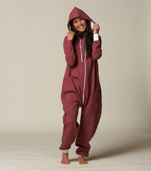 Womens butt flap brick red onesie