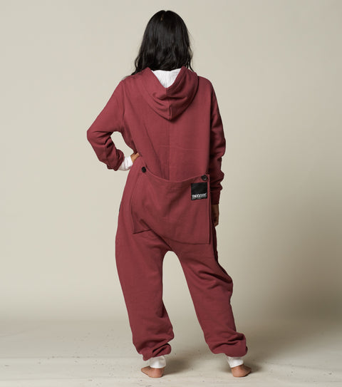 rear view of a womens onesie with a bum flap from thuggies