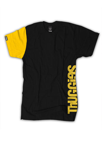 Thuggies Print T-Shirt - Black & Yellow Solid