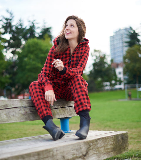 Women's red plaid onepiece long underwear pajamas