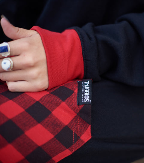 Jewelry and plaid together with our hoodies.