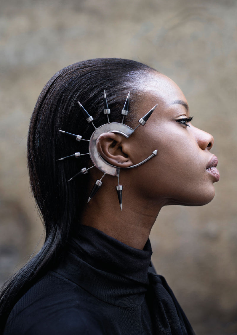 Metal ear cuff with spike made by House of Malakai