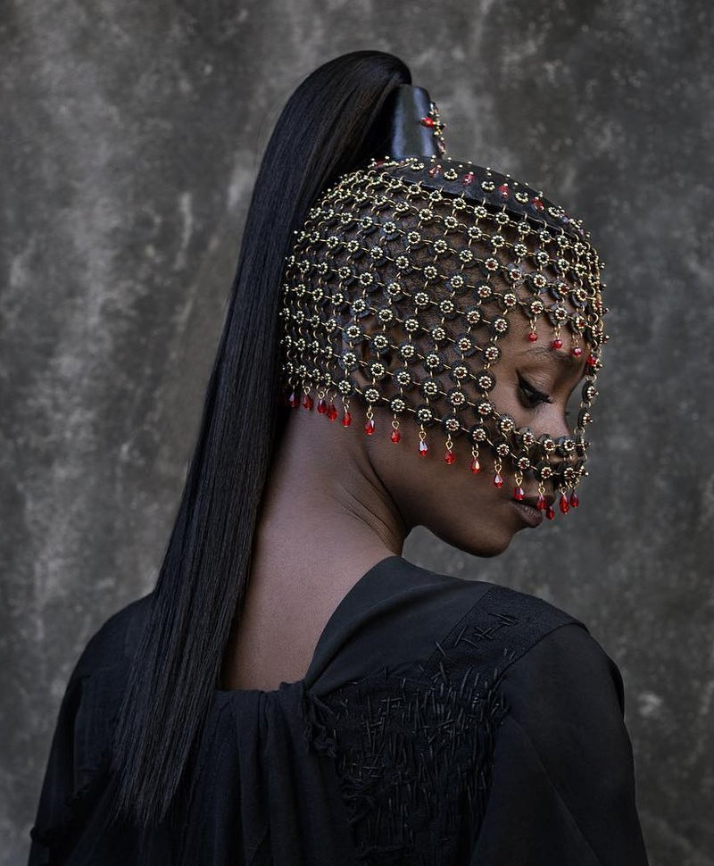Model wearing Equinus headdress made by House of Malakai