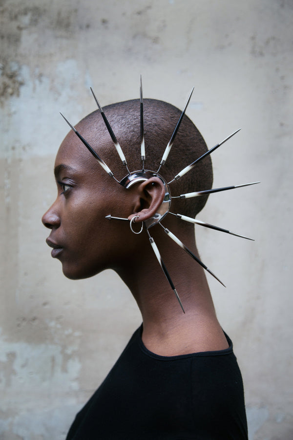 Metal Ear cuff with porcupine quills made by House of Malakai