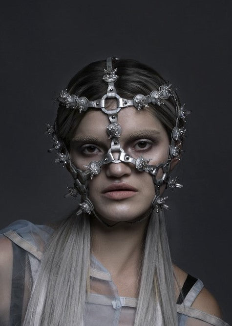 Women model wearing Lucid headdress made by House of Malakai
