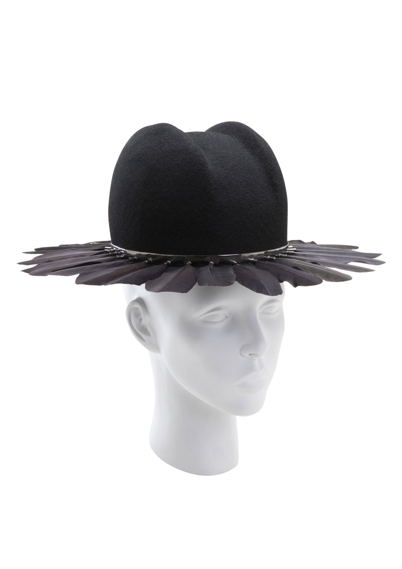 Felt fedora hat with feather from House of Malakai
