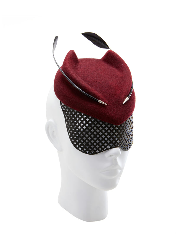 Felt fedora hat with feather and net mask from House of Malakai