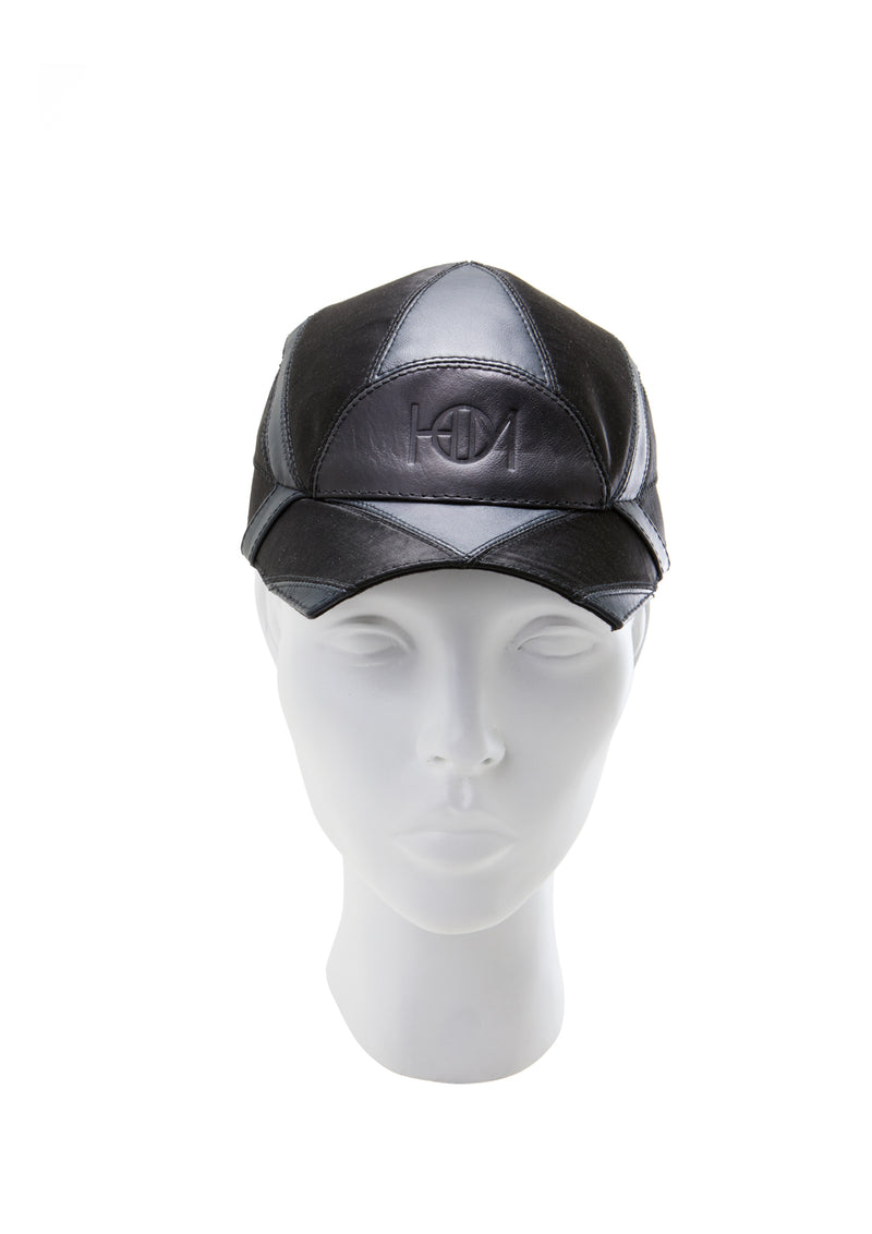 Leather geometric cap with embossed HOM logo made by house of malakai