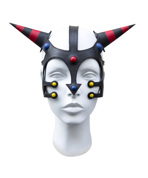 leather mask with horn in multiple color made by House of Malakai
