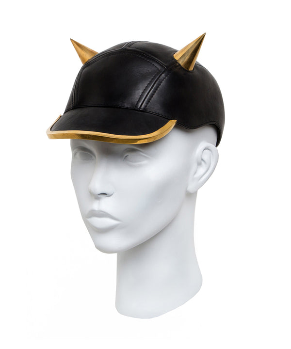 Leather Cap with metal Horn from House of Malakai