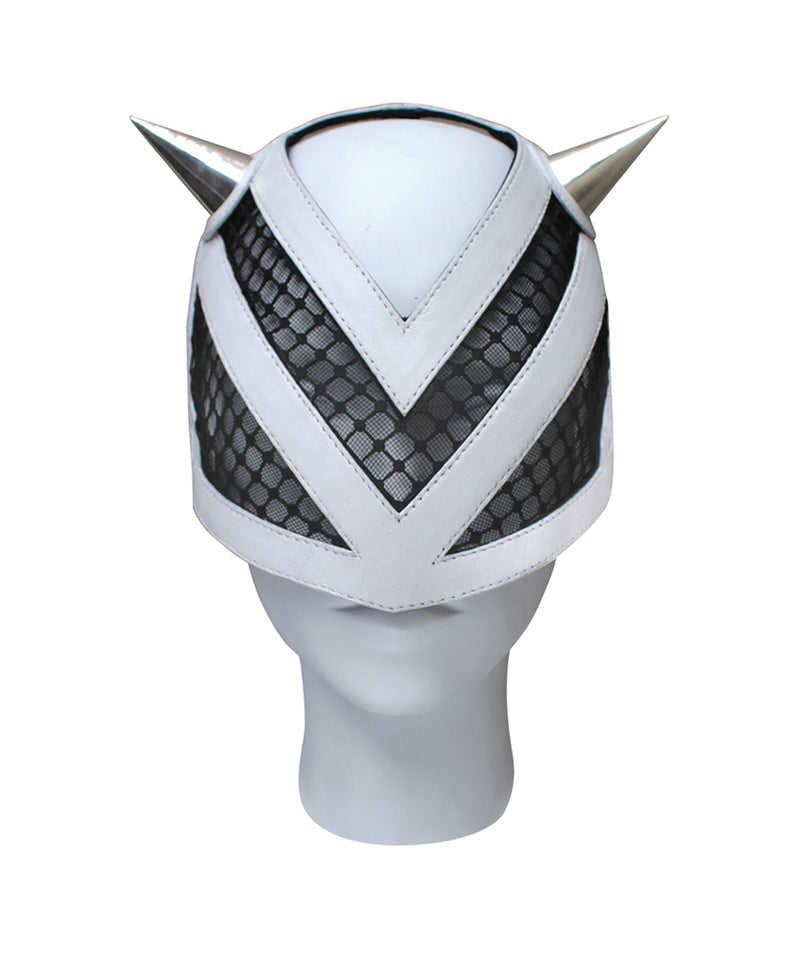 White leather mask with metal horn and net made by House of Malakai