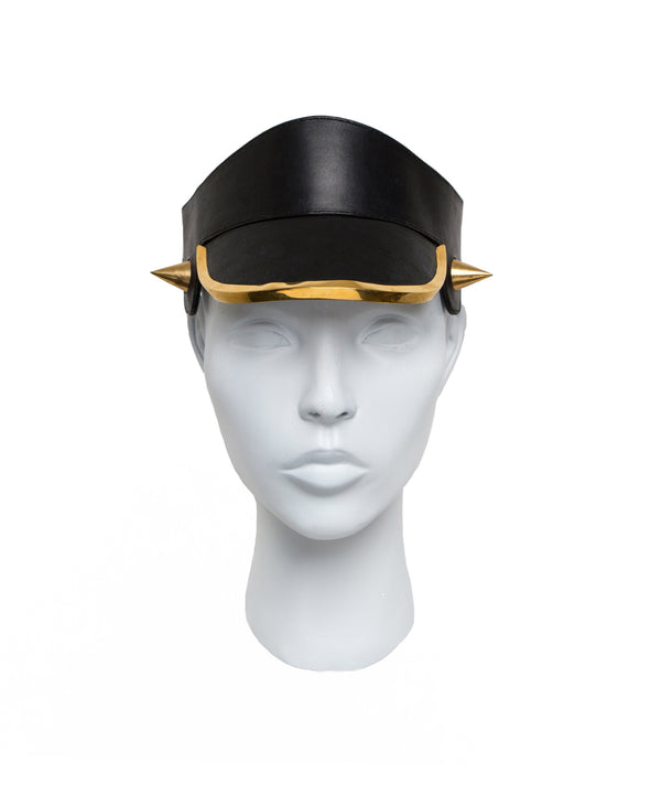Leather Visor Hat with metal horn from House of Malakai
