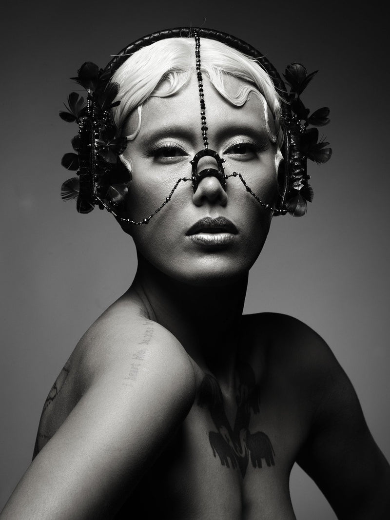 women model wearing Awanyu headdress made by House of Malakai